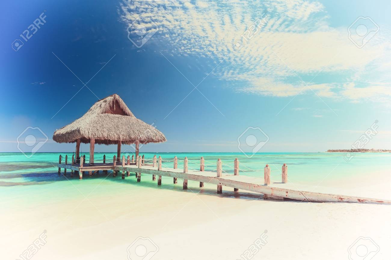 Vintage picture of beautiful tropical white sandy beach in Cap Cana, Dominican Republic - 62066718