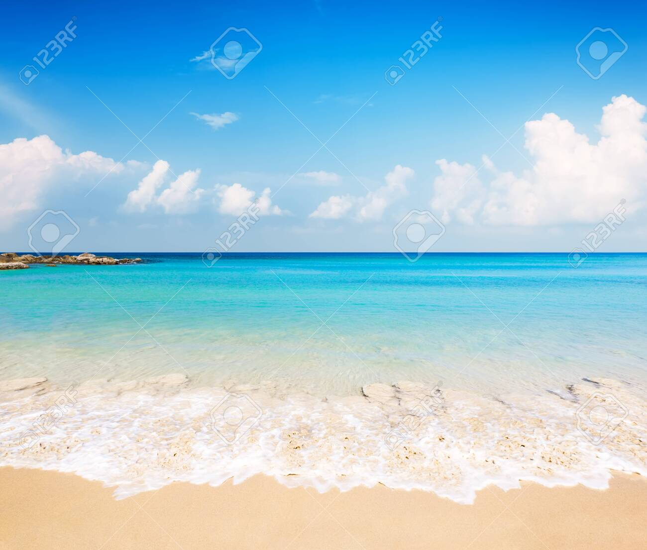 Coconut palm trees against blue sky and beautiful beach in Punta Cana, Dominican Republic. Vacation holidays background wallpaper. View of nice tropical beach. - 126509082