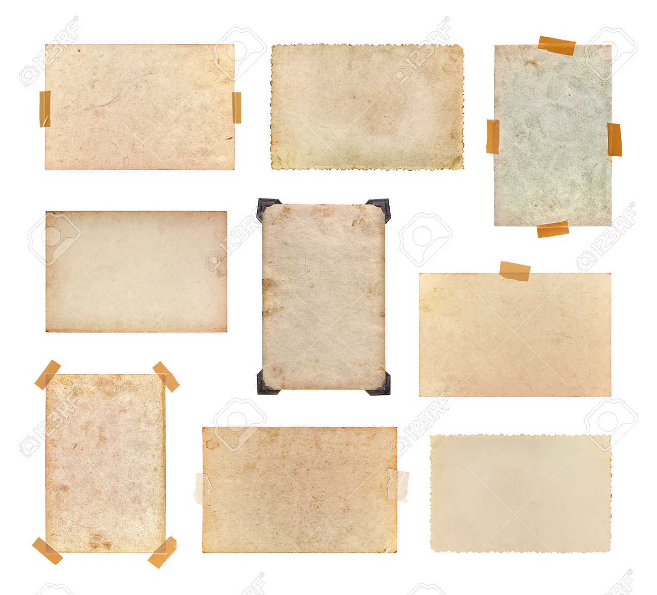 Set of vintage photos isolated on a white background. Collection of old photos, each one is shot separately. - 166310285