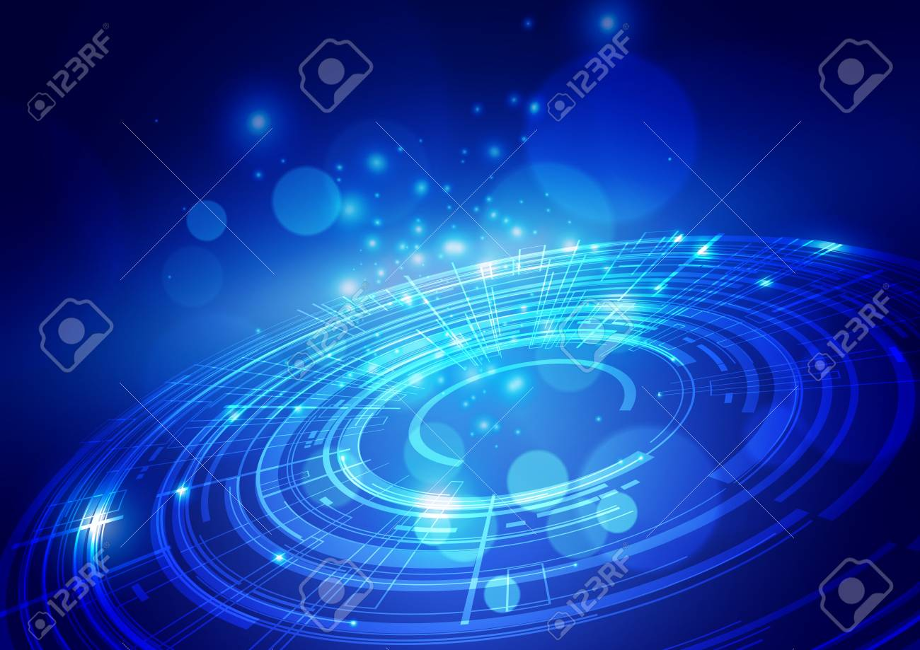 Abstract Digital Technology Blue Background, Vector Illustration - 127115768
