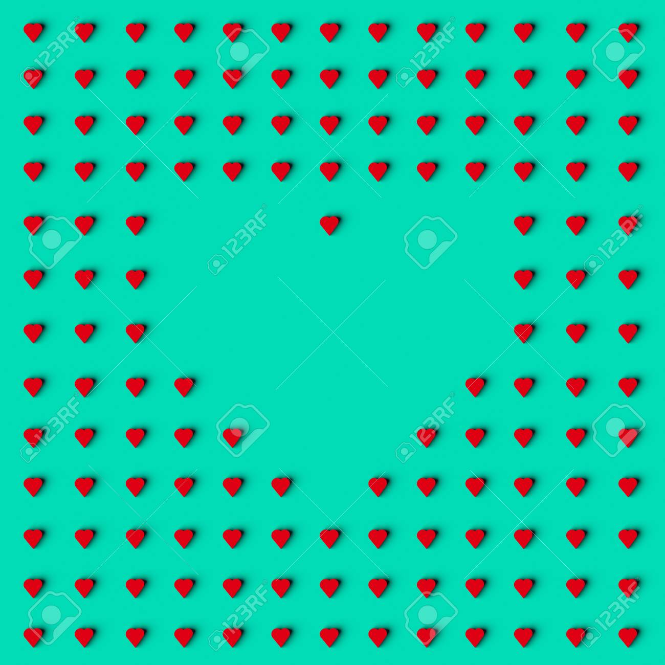 Representación 3d Del Marco De Forma De Corazón Hecho Con Corazones