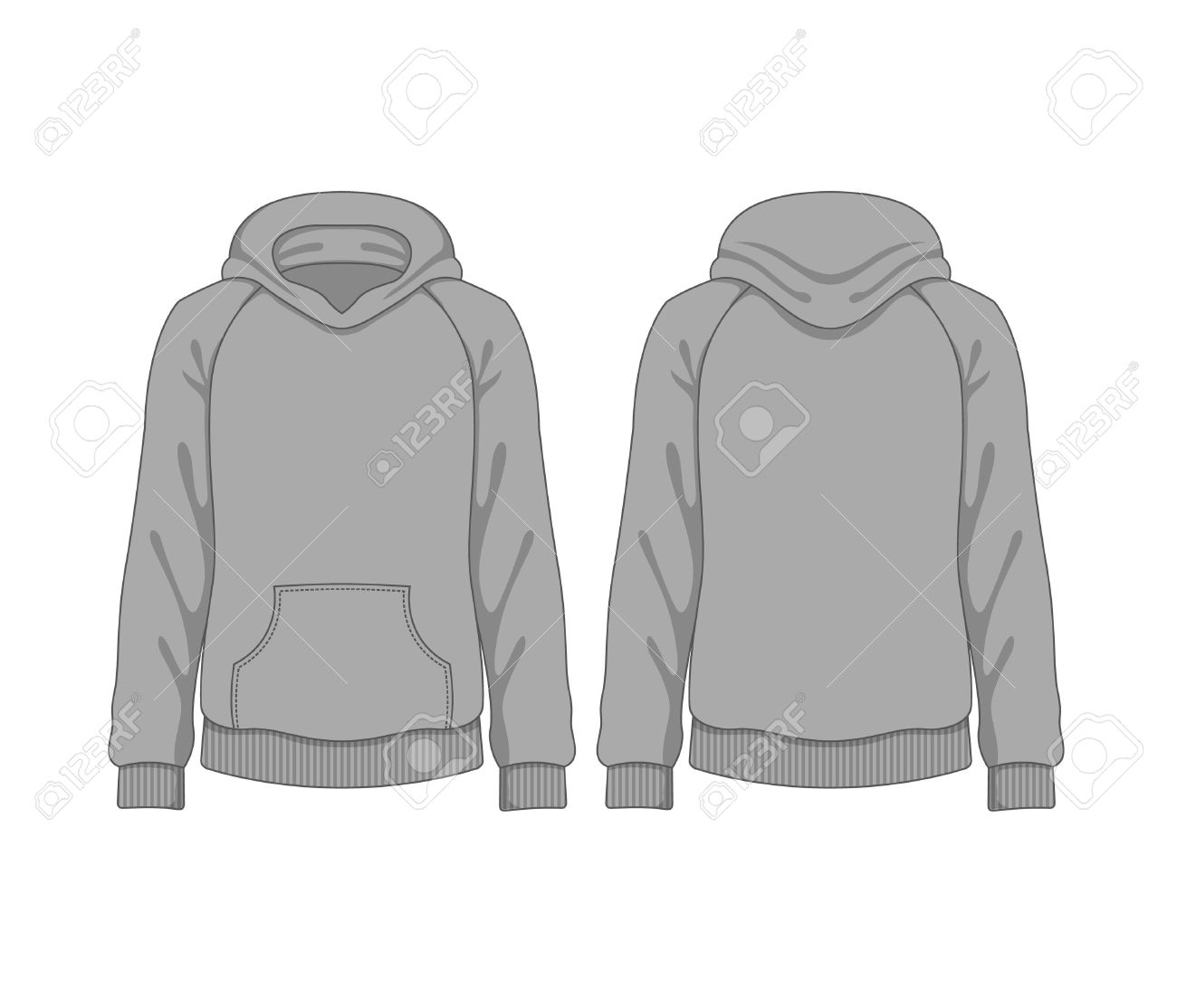 Man Hoodie. Vector Template Royalty Free Cliparts, Vectors, And ...