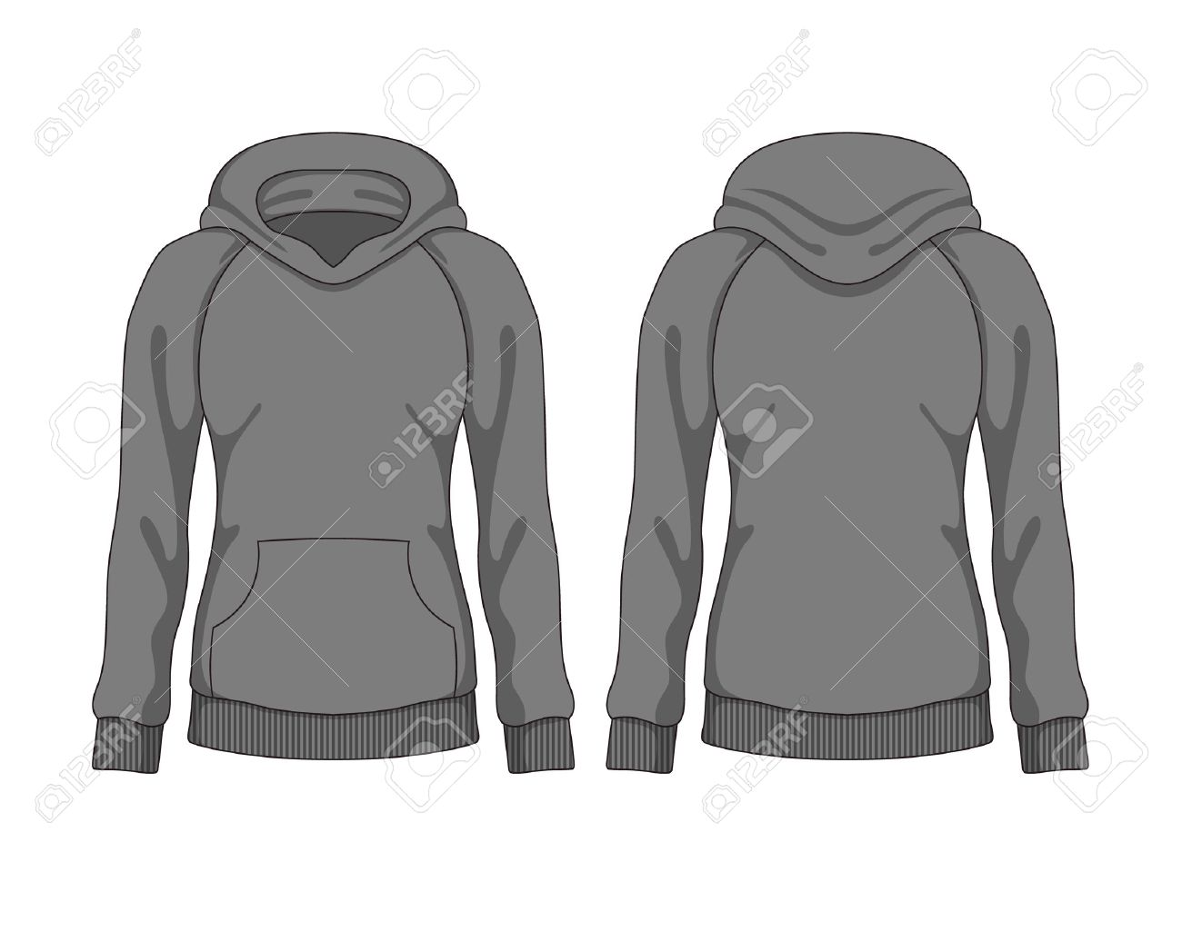 Woman Hoodie. Vector Template Royalty Free Cliparts, Vectors, And ...