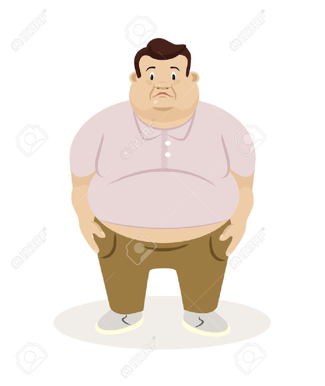 Homem Gordo Ilustração Em Vetor Plana