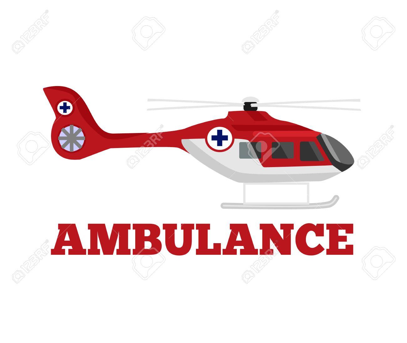 Vector ambulance helicopter flat illustration - 38488627