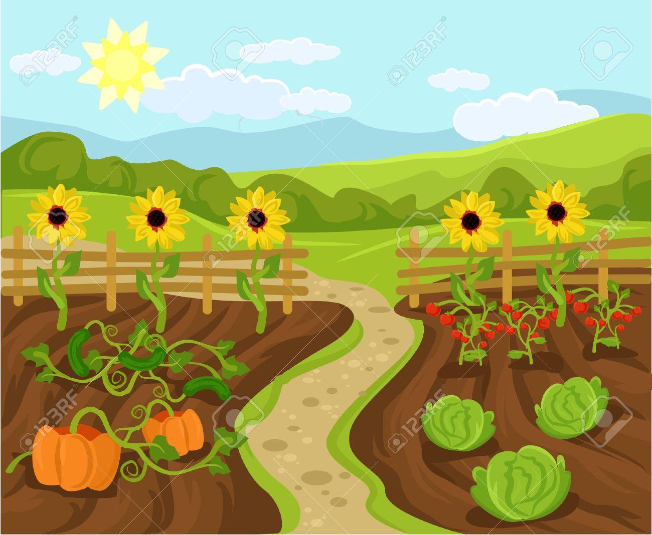 Vector garden flat cartoon illustration