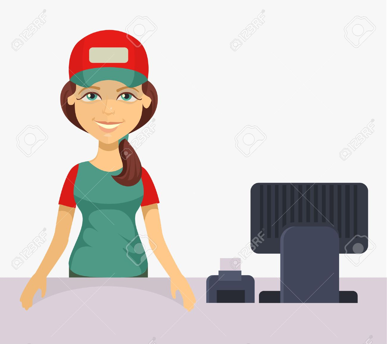 vector cashier flat cartoon illustration royalty free cliparts