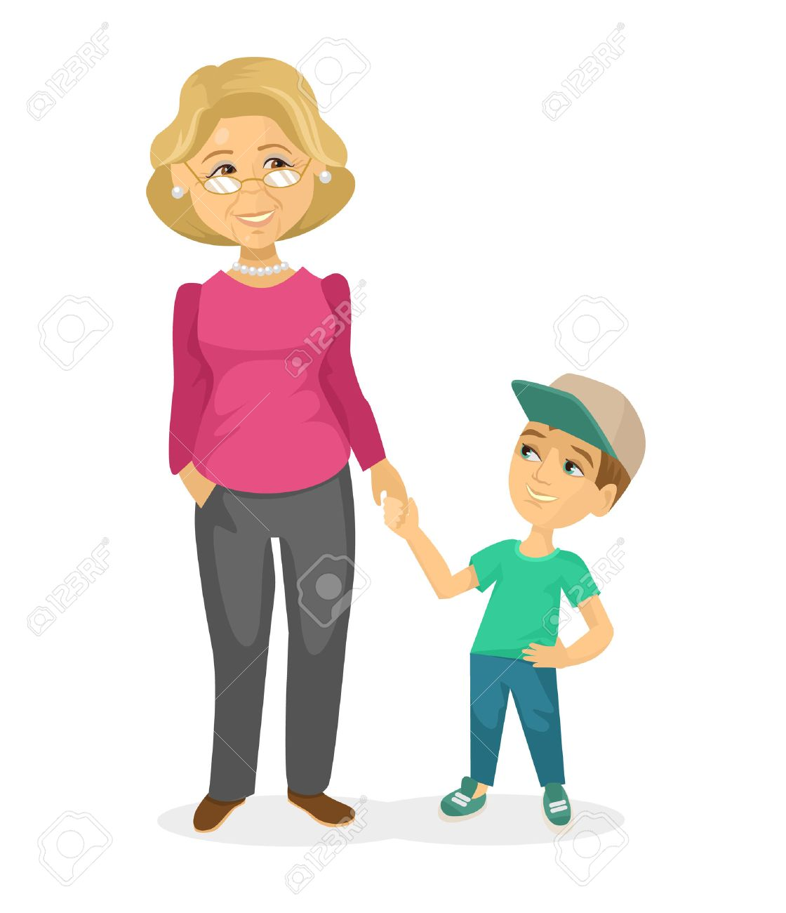 grandmother and grandson vector flat illustration royalty free