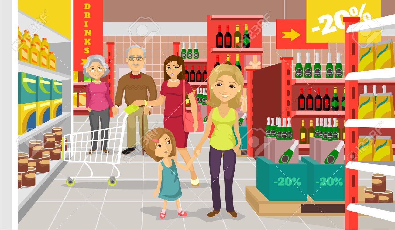 Vector supermarket flat illustration - 41917796