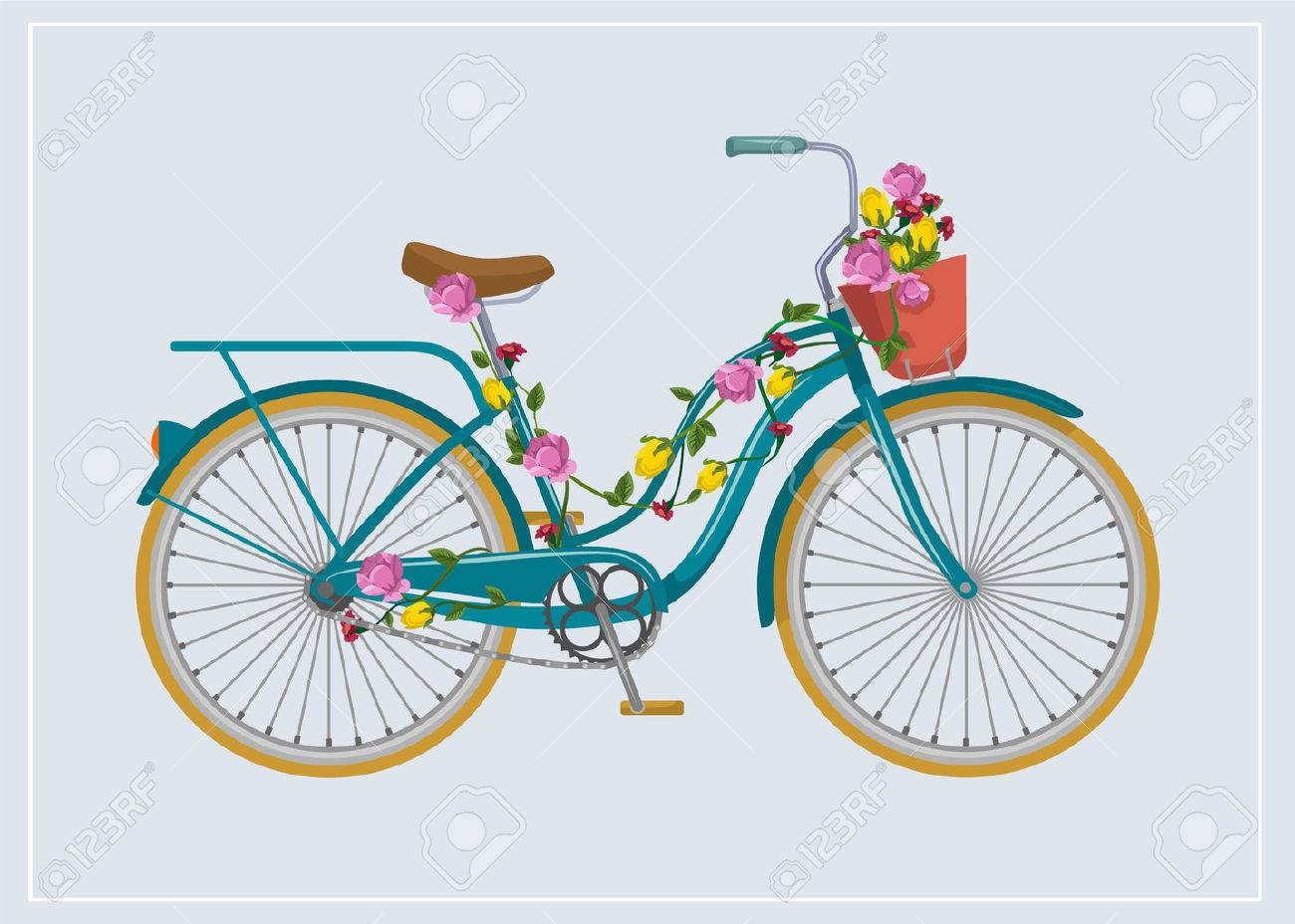 Bike with flowers. Vector flat illustration Stock Vector - 42775061