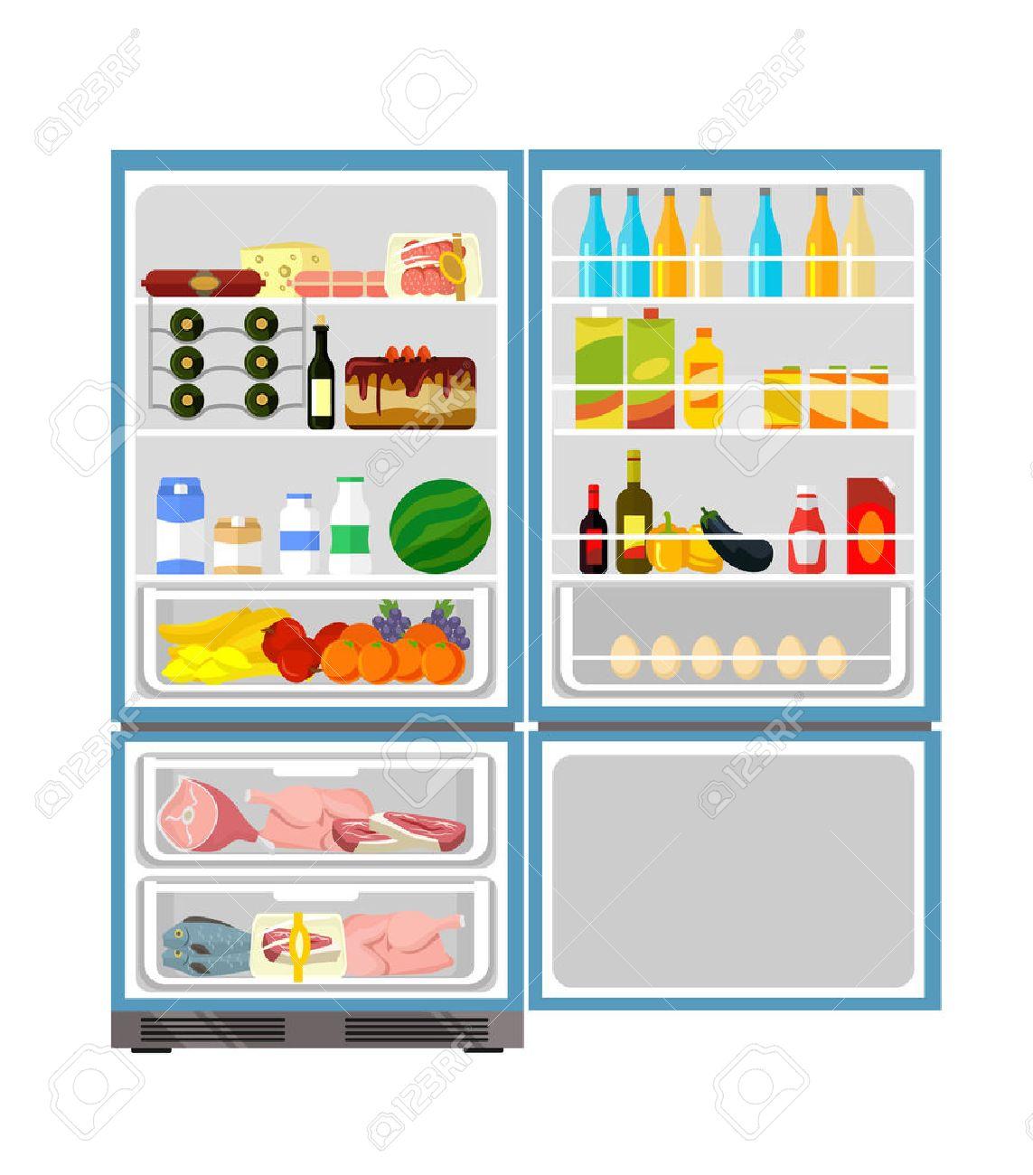 Fridge full of food. Vector flat illustration - 42775095