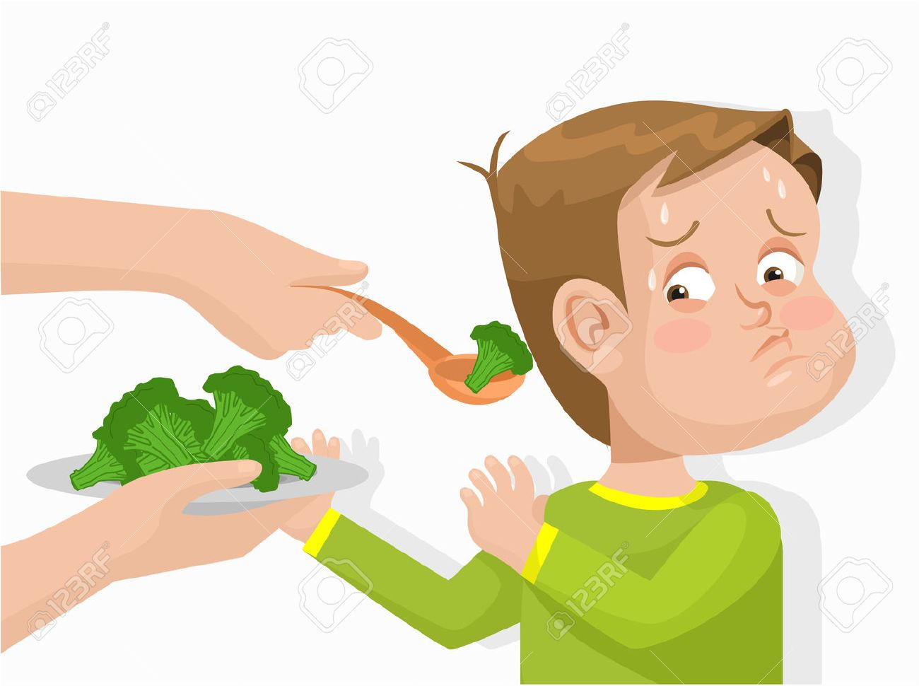 Child does not want to eat broccoli. Vector flat illustration - 42793290