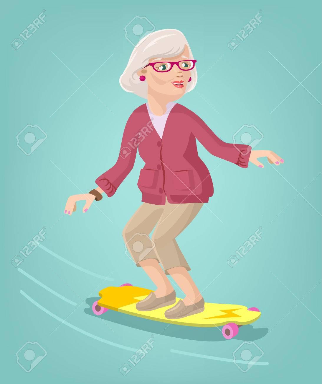 Grandmother skater. Vector cartoon flat illustration - 43577332