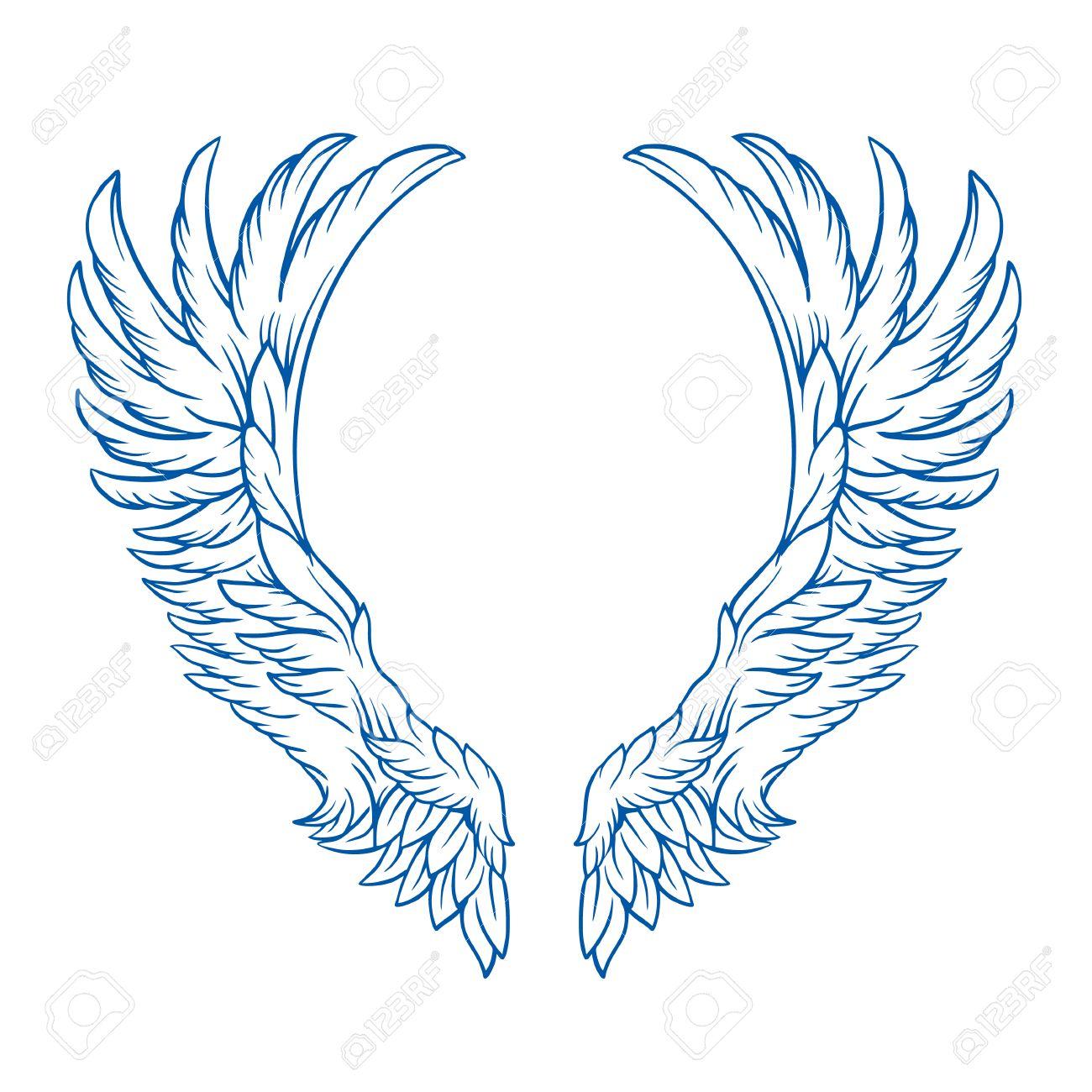翼のタトゥー ベクター漫画イラストのイラスト素材ベクタ Image