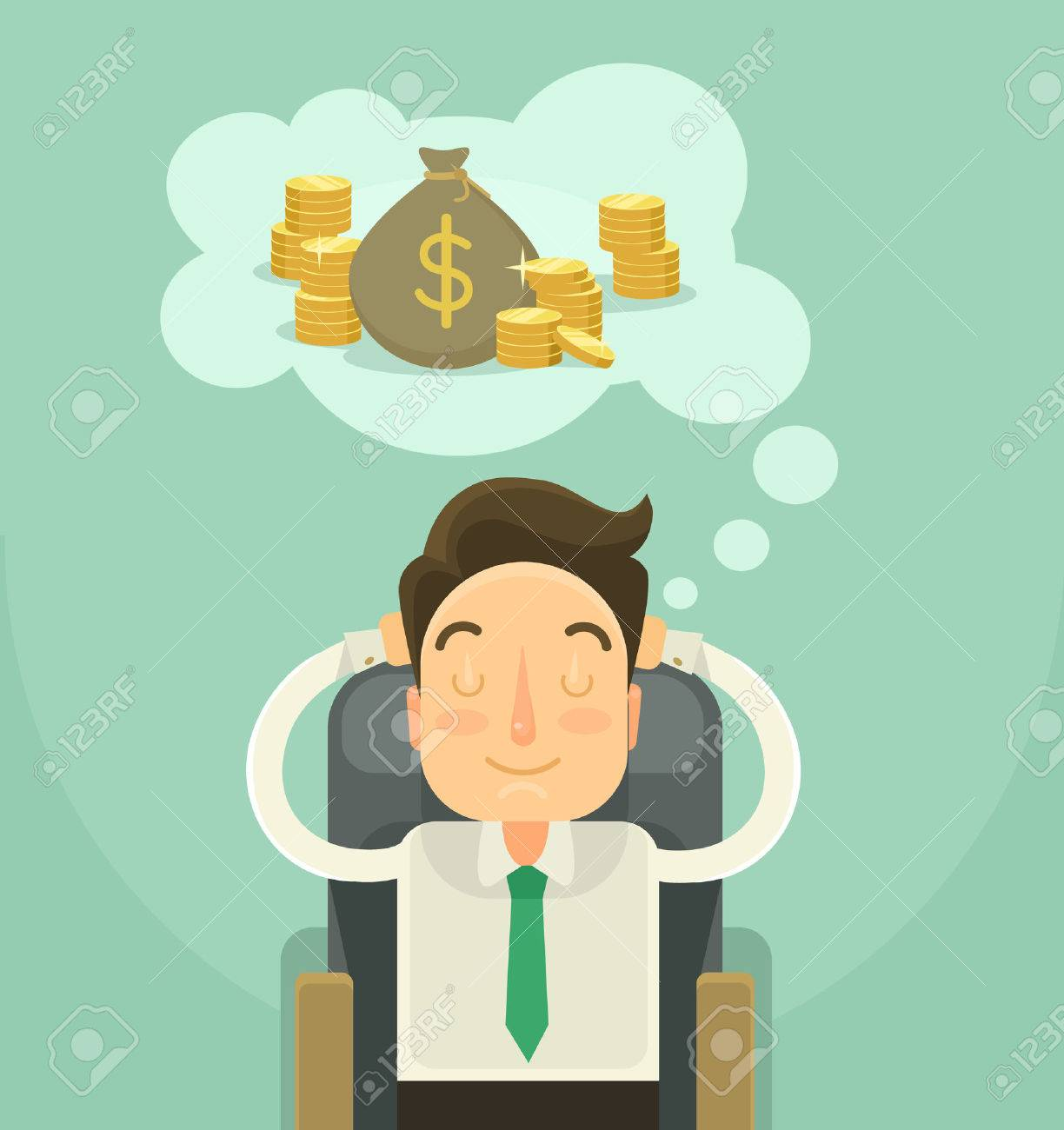 Businessman dreaming about money. Vector flat illustration - 45454061
