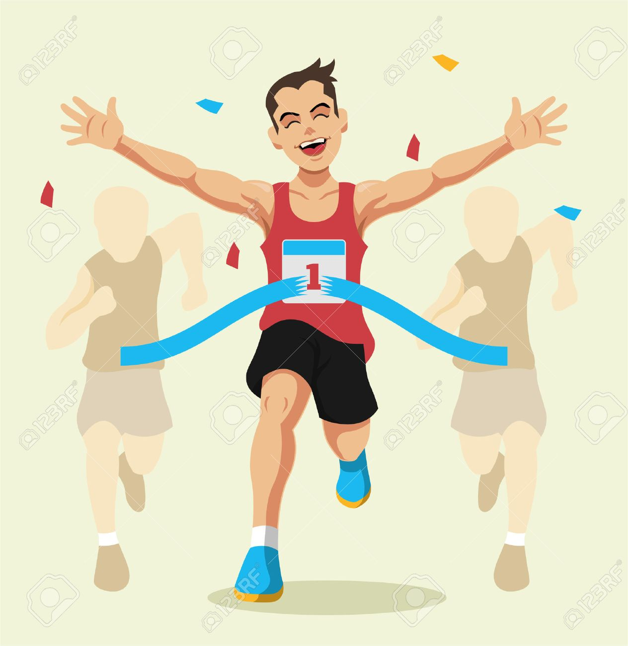 Man winning a race. Vector flat illustration - 45454142
