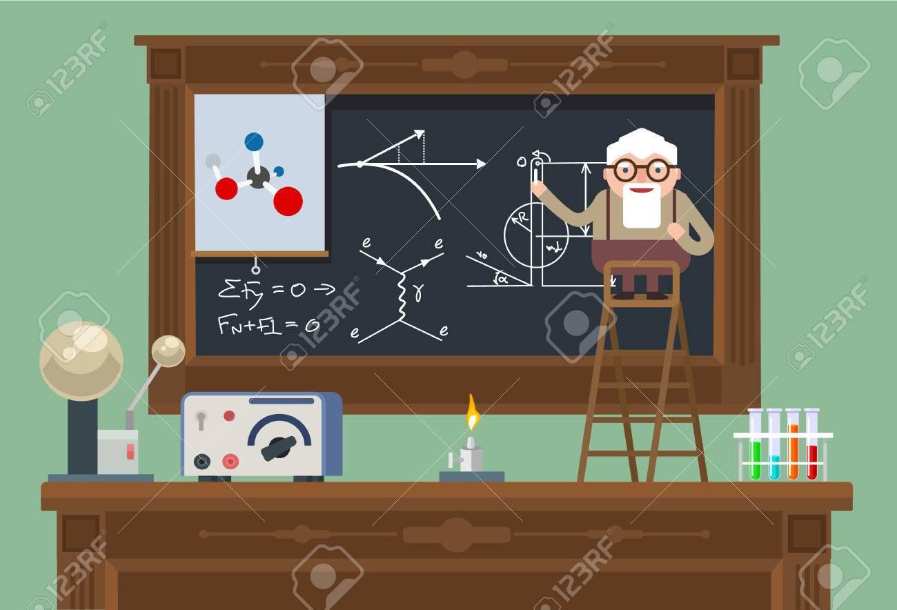 Scientist old professor. Vector flat illustration - 46905429