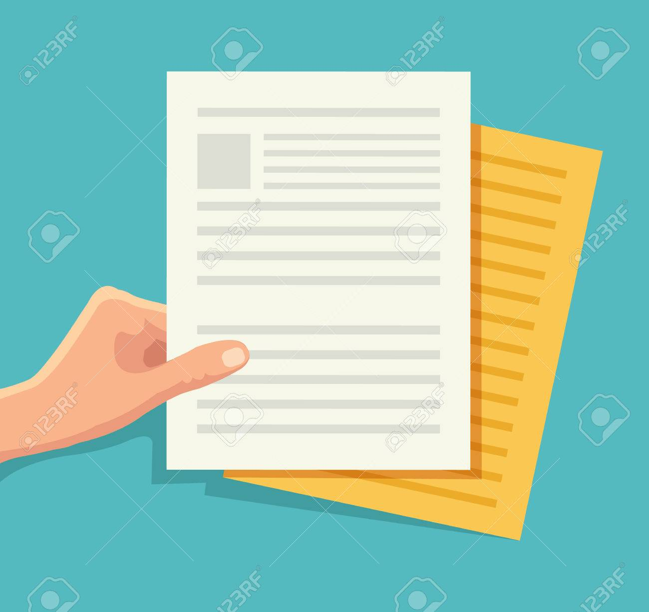Hand holding the document. Vector flat illustration - 48675582