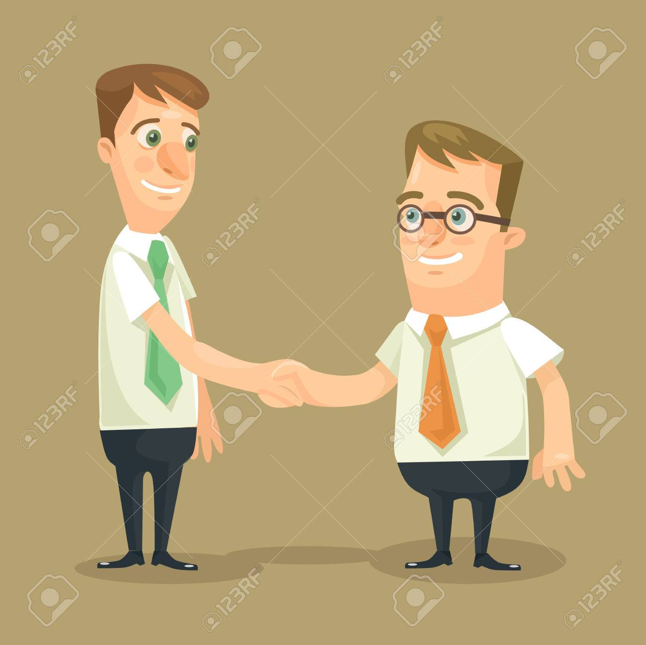 Businessman shaking hands. Vector flat illustration - 48675631