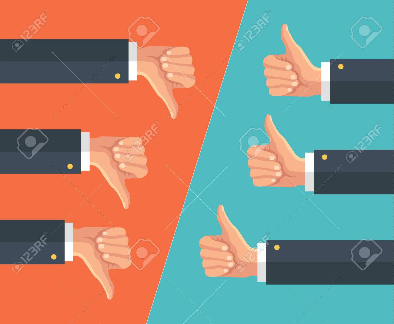 Thumbs up and thumbs down. Vector flat illustration - 48675638