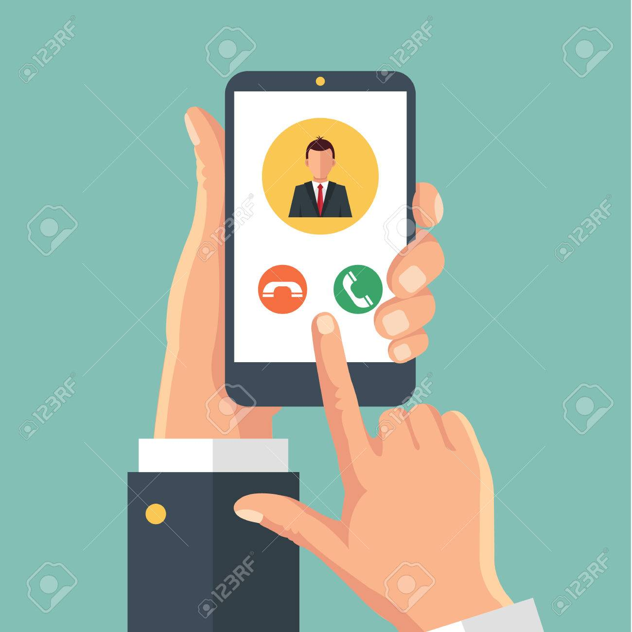 Incoming call on smartphone screen. Vector flat illustration - 52648596