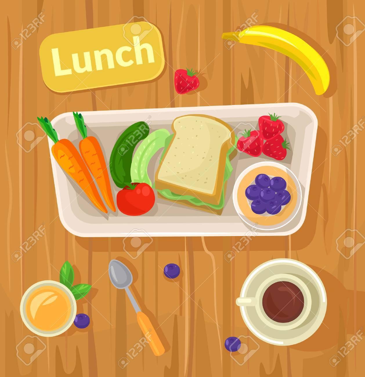 Healthy vector lunch. Vector flat illustration - 52648637