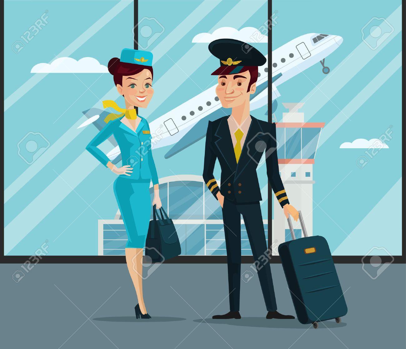 Pilot and stewardess. Vector cartoon illustration - 53826824