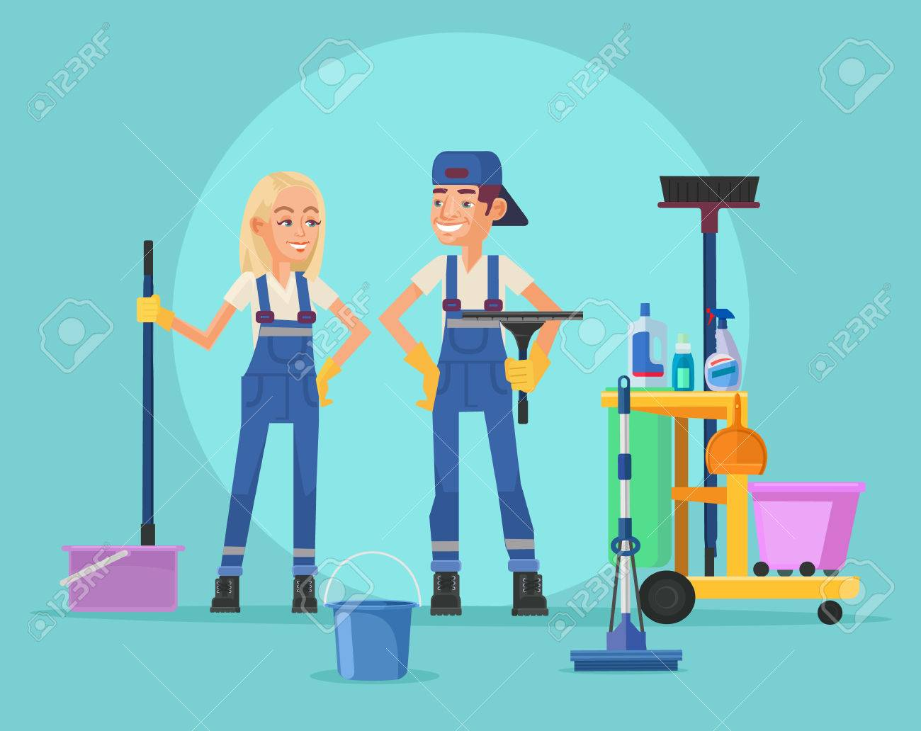 Cleaning staff. Vector flat illustration - 53827312