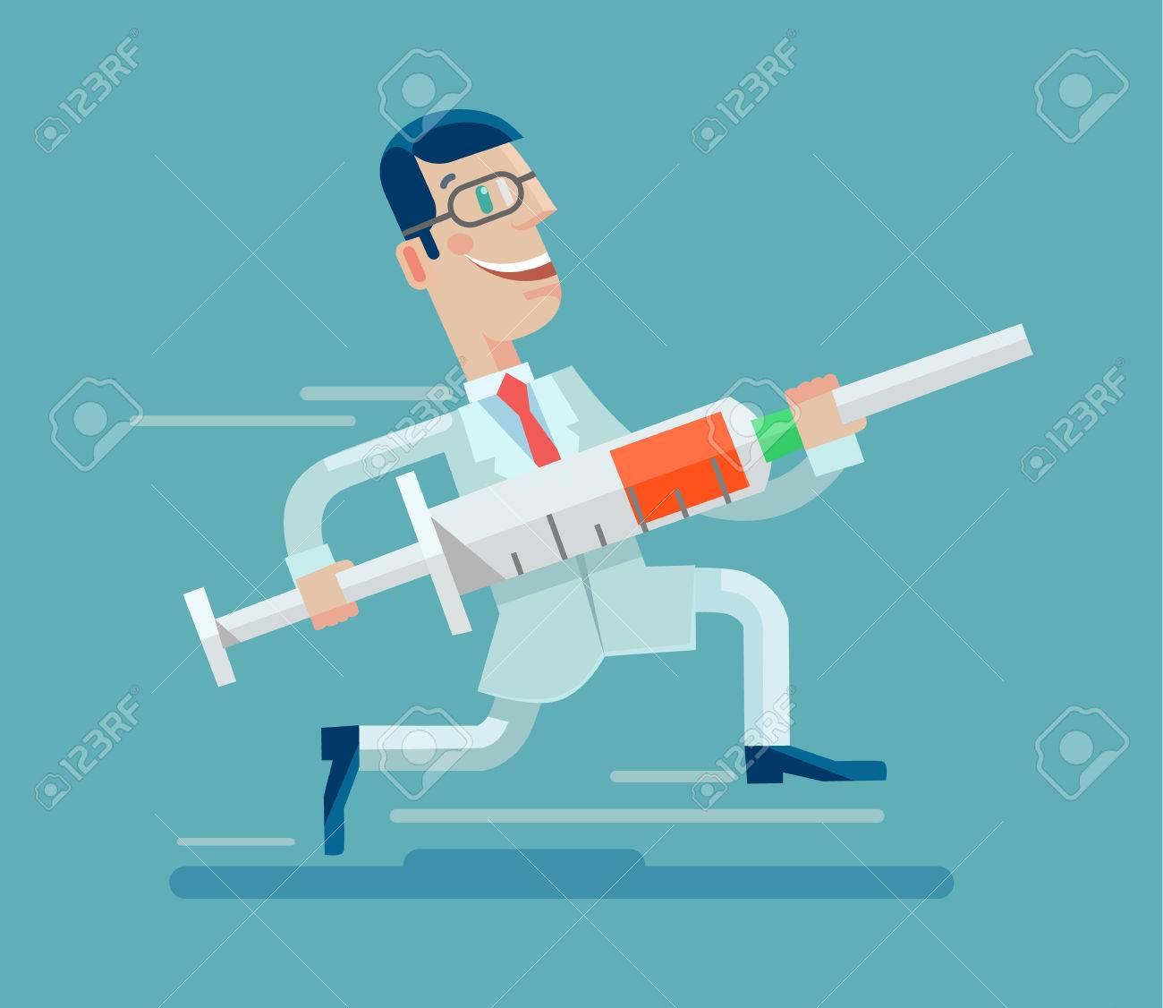 Doctor run with syringe. Vector flat illustration - 54243352