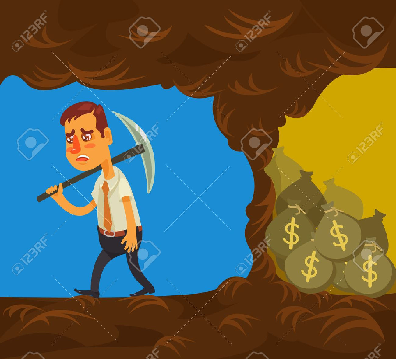 Never give up. Vector flat cartoon illustration - 54243374