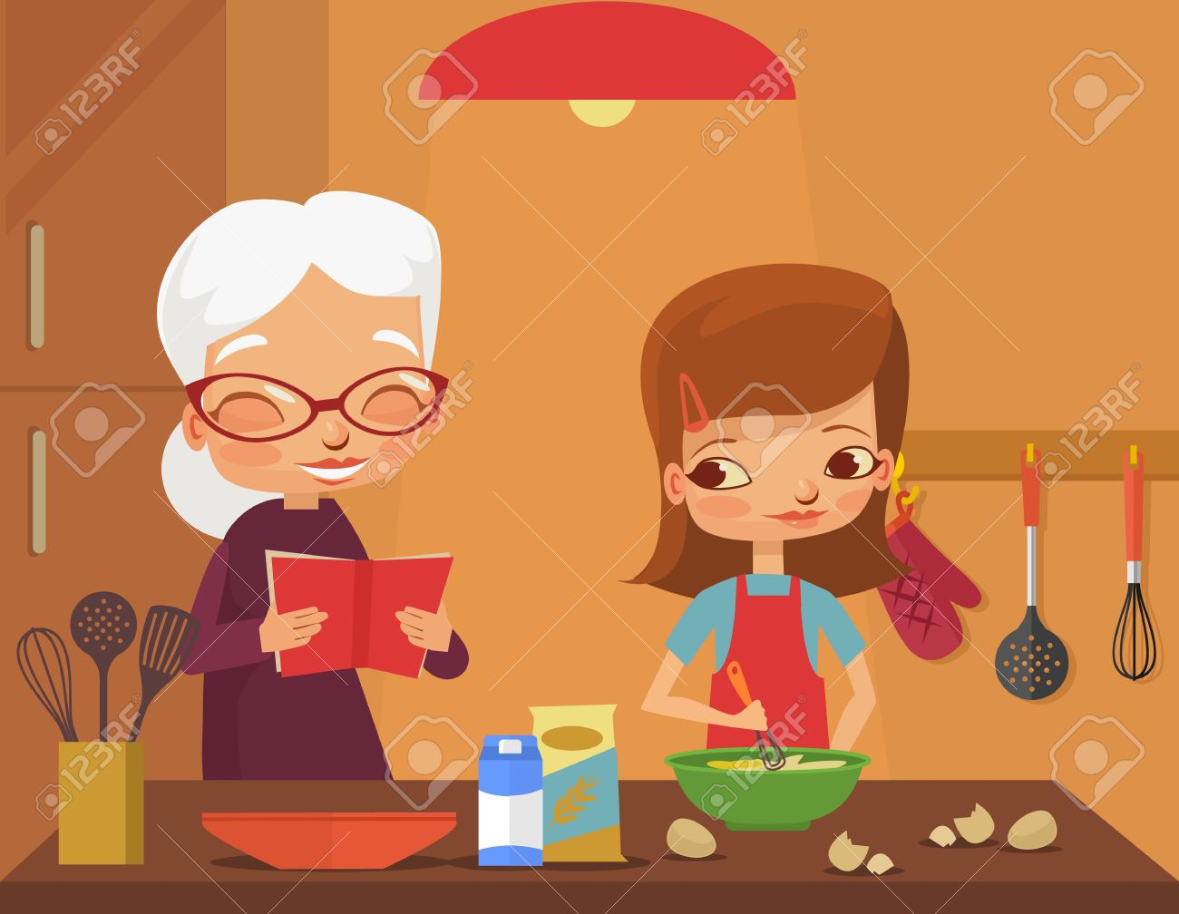 Grandmother and granddaughter cook. Vector flat cartoon illustration - 54243432