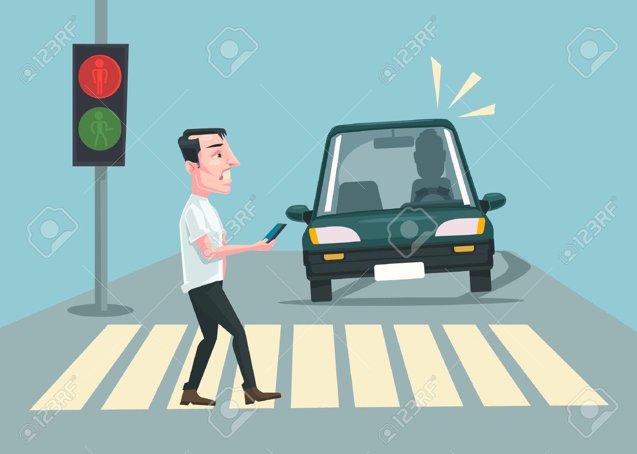 Pedestrian accident. Vector flat cartoon illustration - 54243479