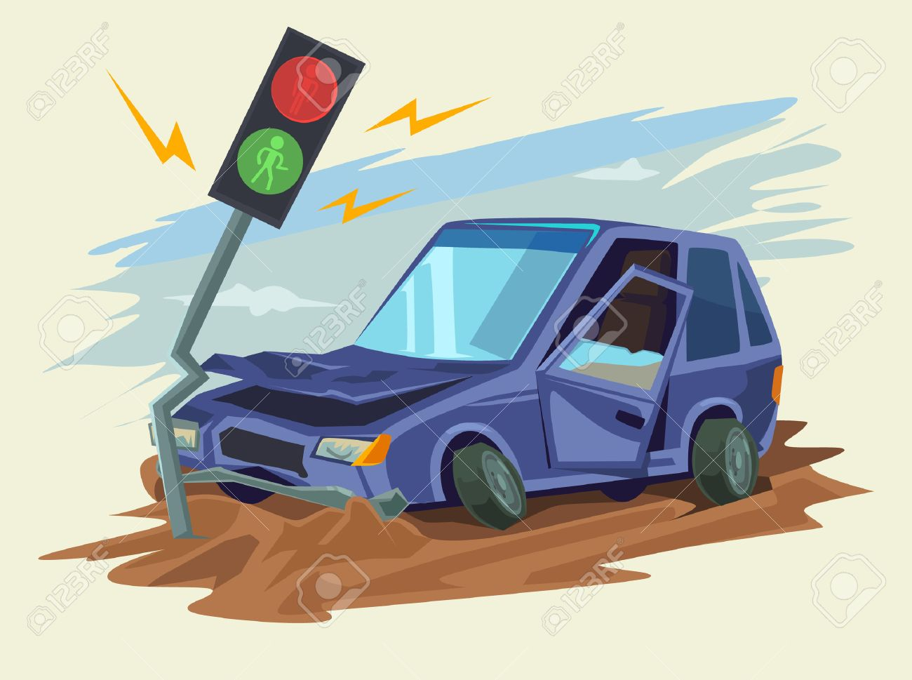 Car Crash Road Accident. Vector Flat Illustration Royalty Free ...
