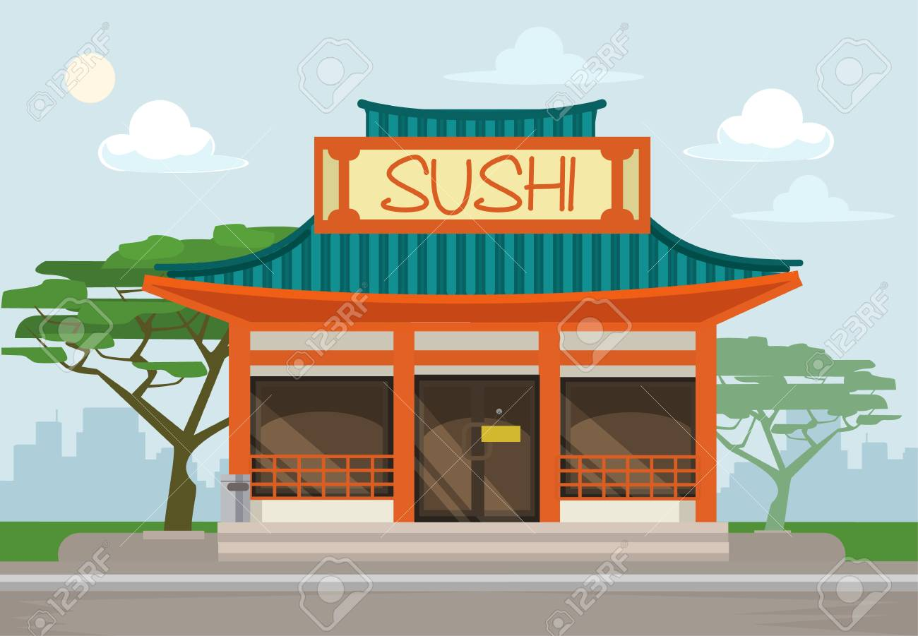 Sushi Restaurant Cafe Building Vector Flat Illustration Royalty Free Cliparts Vectors And Stock Illustration Image 54960911