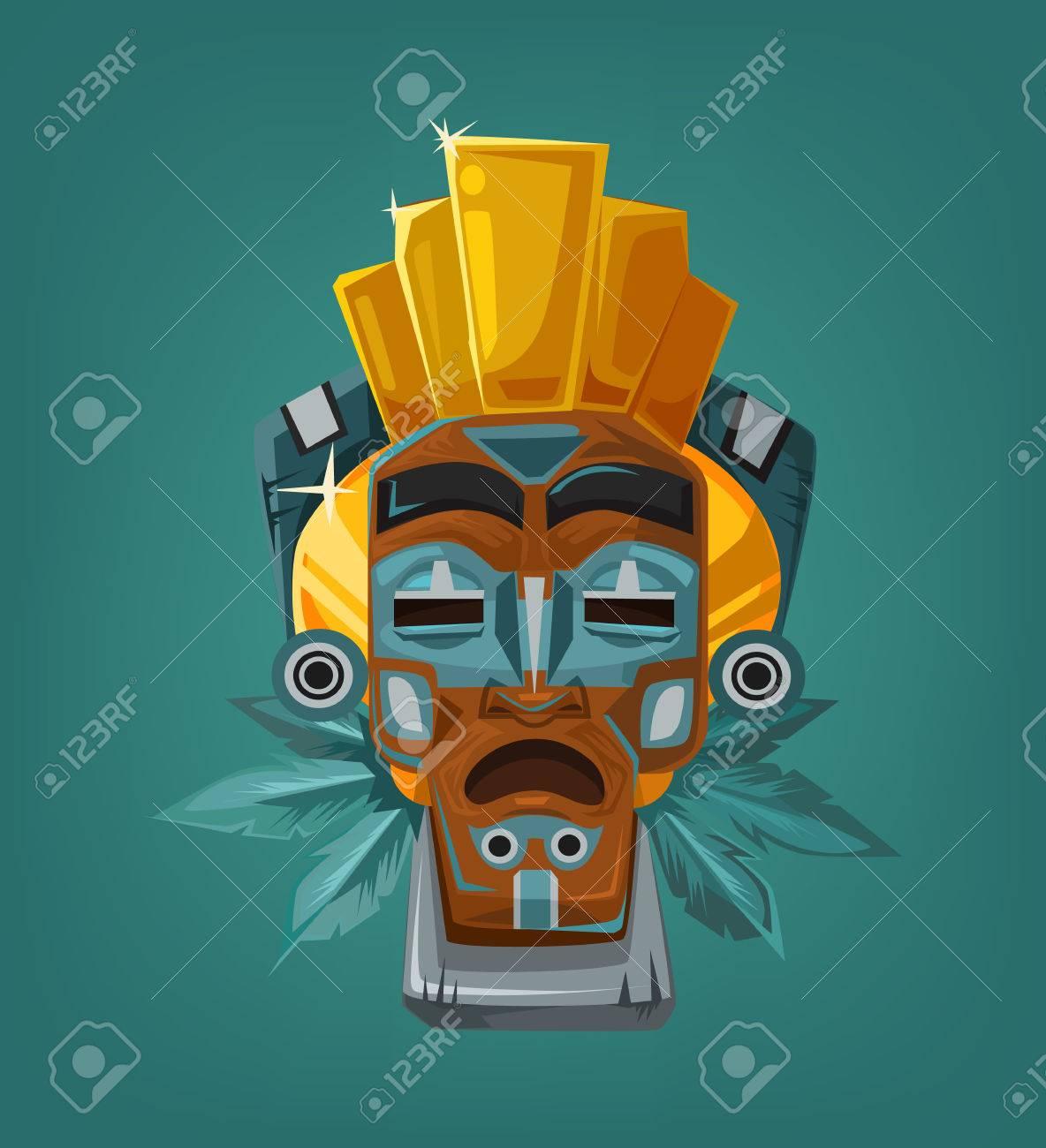 Ethnic tribal mask. Vector cartoon flat illustration - 54960936