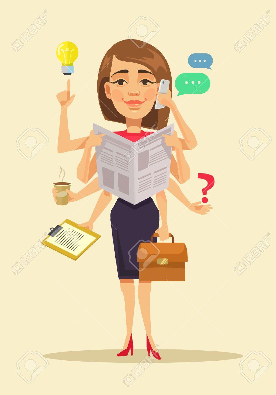 Multitasking woman. Vector flat cartoon illustration - 54960939