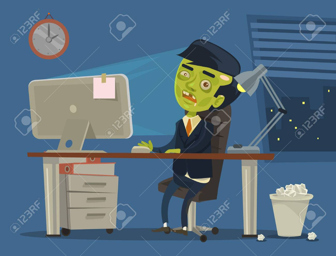Zombie worker. Vector flat cartoon illustration - 54960943