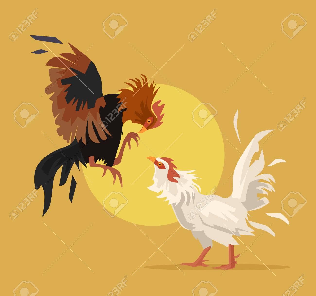 Two cocks fighting. Vector flat cartoon illustration - 55211934
