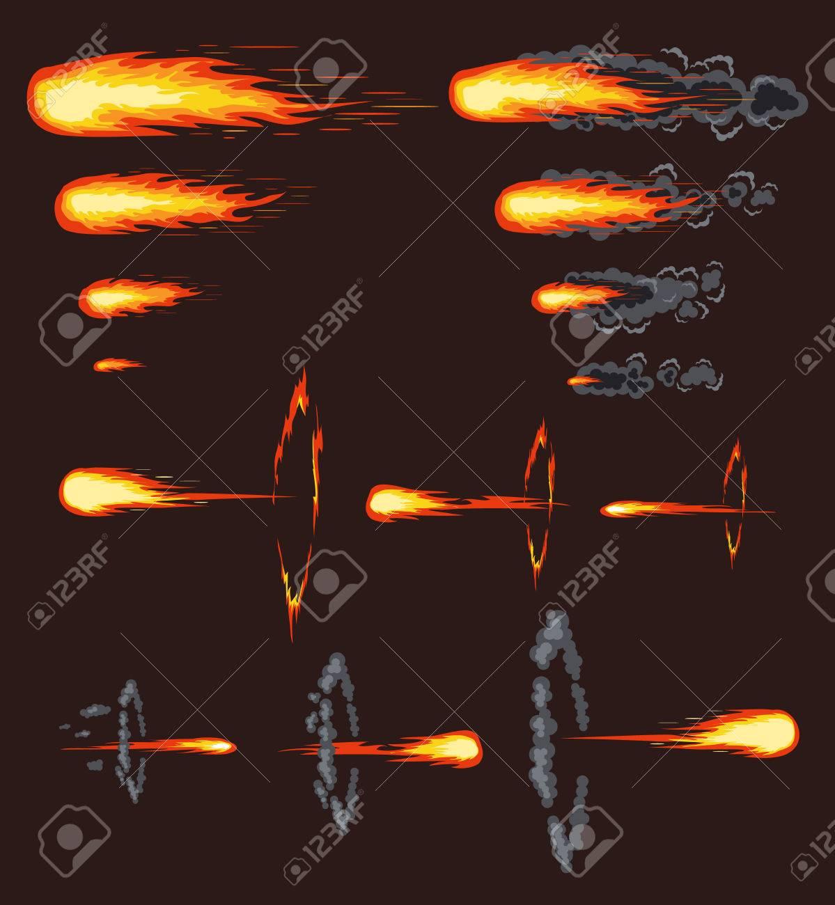 Vector comet effect. Flat set illustration - 55212052