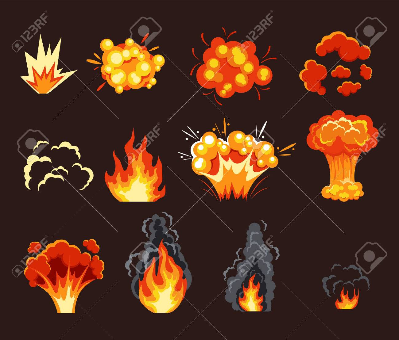 Explosion animation effect. Vector flat cartoon illustration set - 55212048