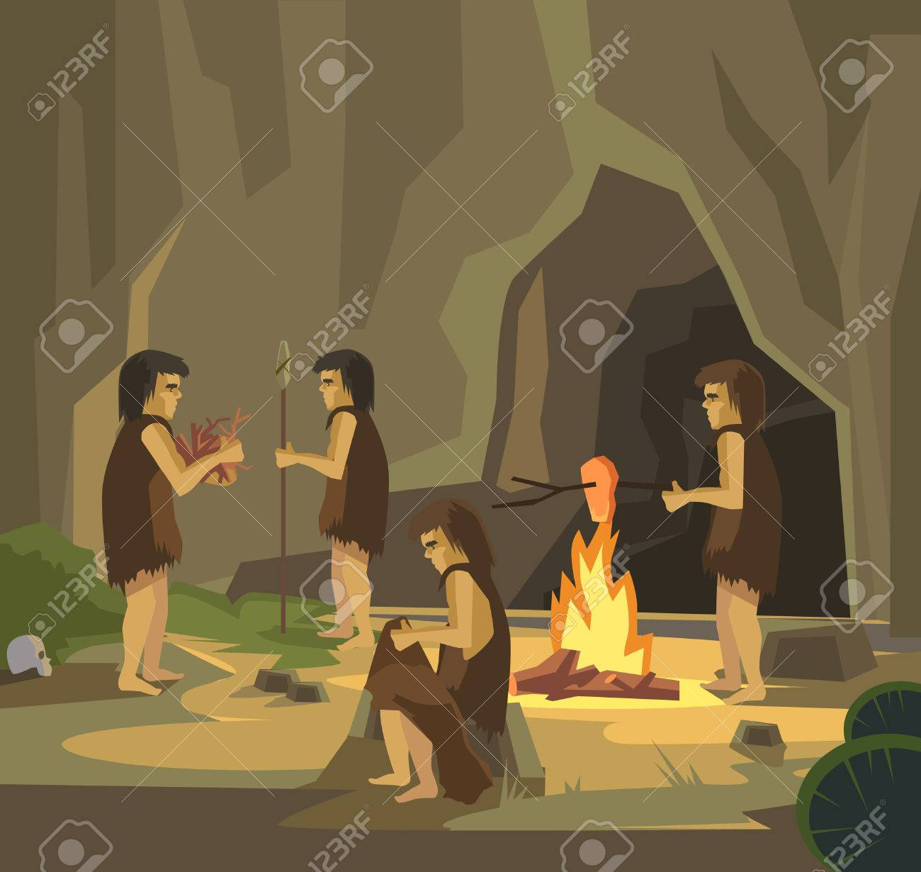Cave people. Vector flat illustration - 55212088