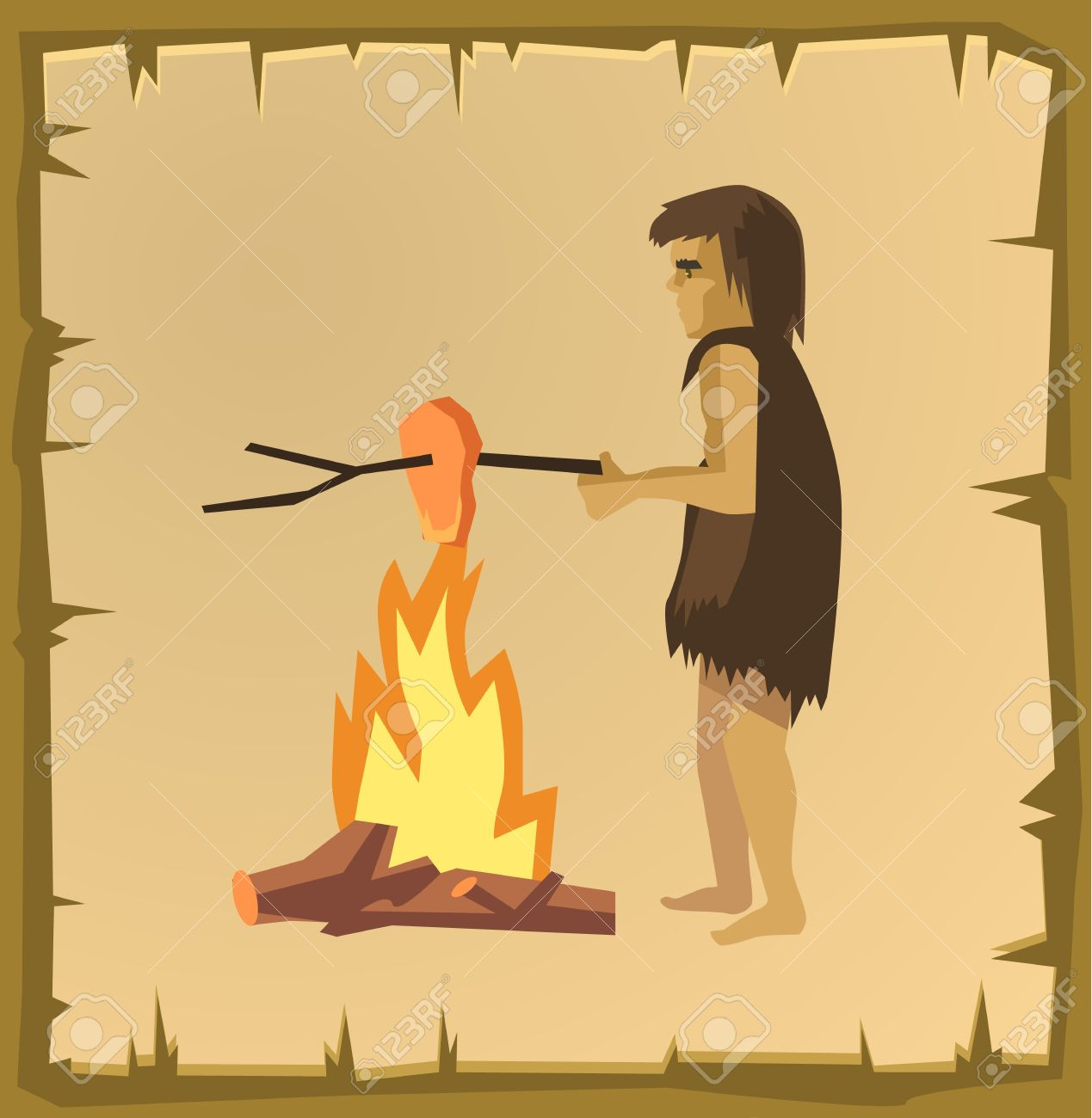 Hombre De Las Cavernas De Cocción Vector Ilustración De Dibujos Animados Plana