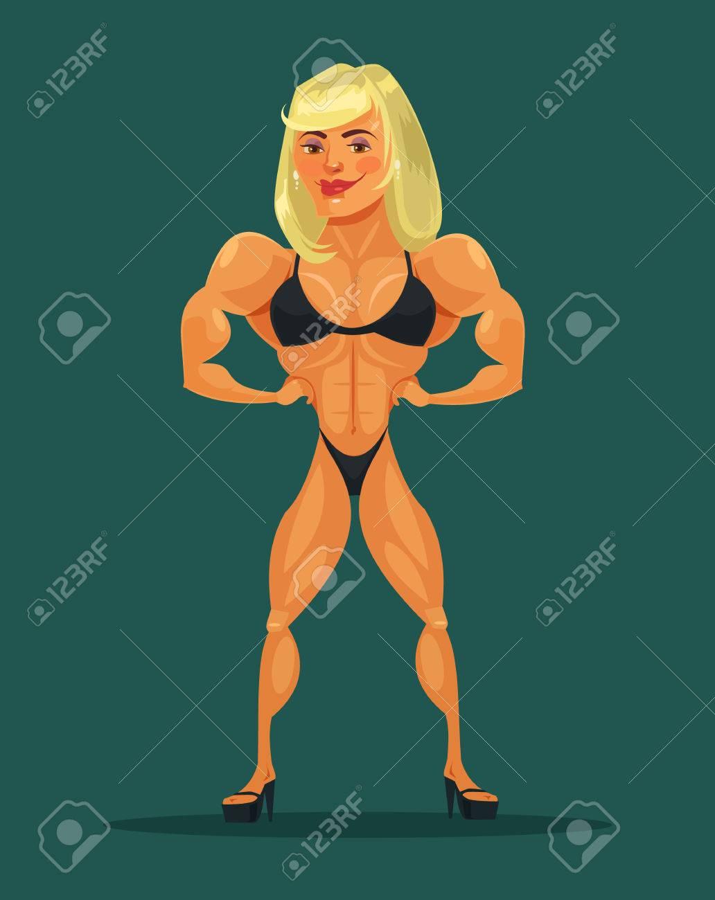 Vector Woman Bodybuilder Vector Flat Cartoon Illustration