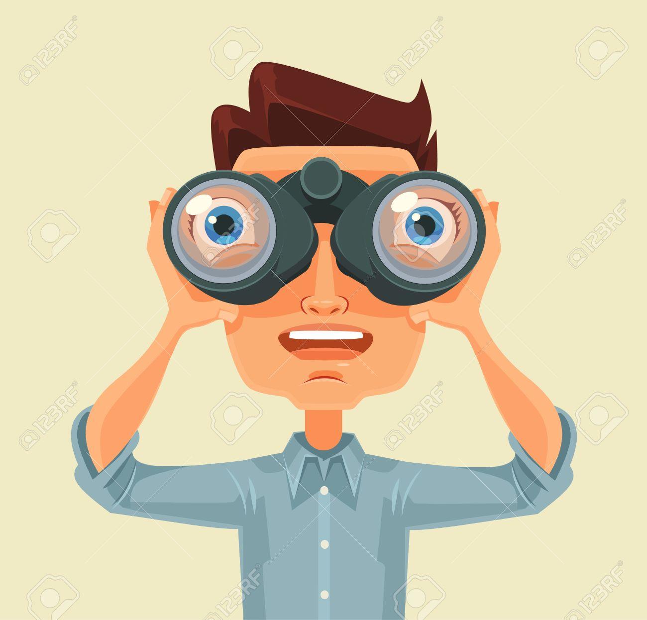 Man with binoculars. Vector flat cartoon illustration - 55543075