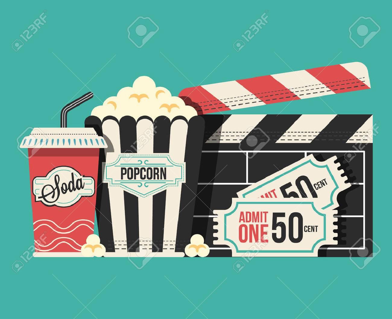 Retro movie flat cartoon lllustration - 55965644