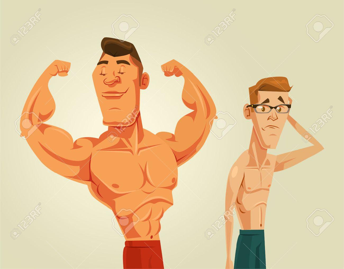 Strong and weak men. Vector flat cartoon illustration - 55966001