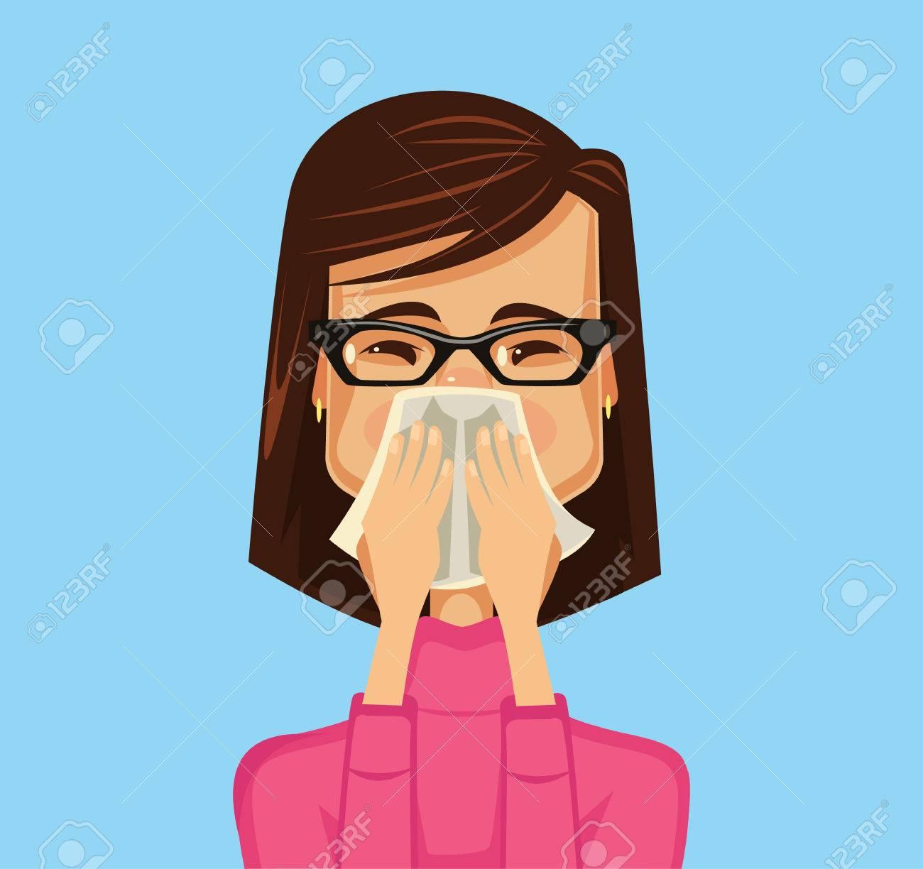 Allergy woman. Vector flat illustration - 55966352