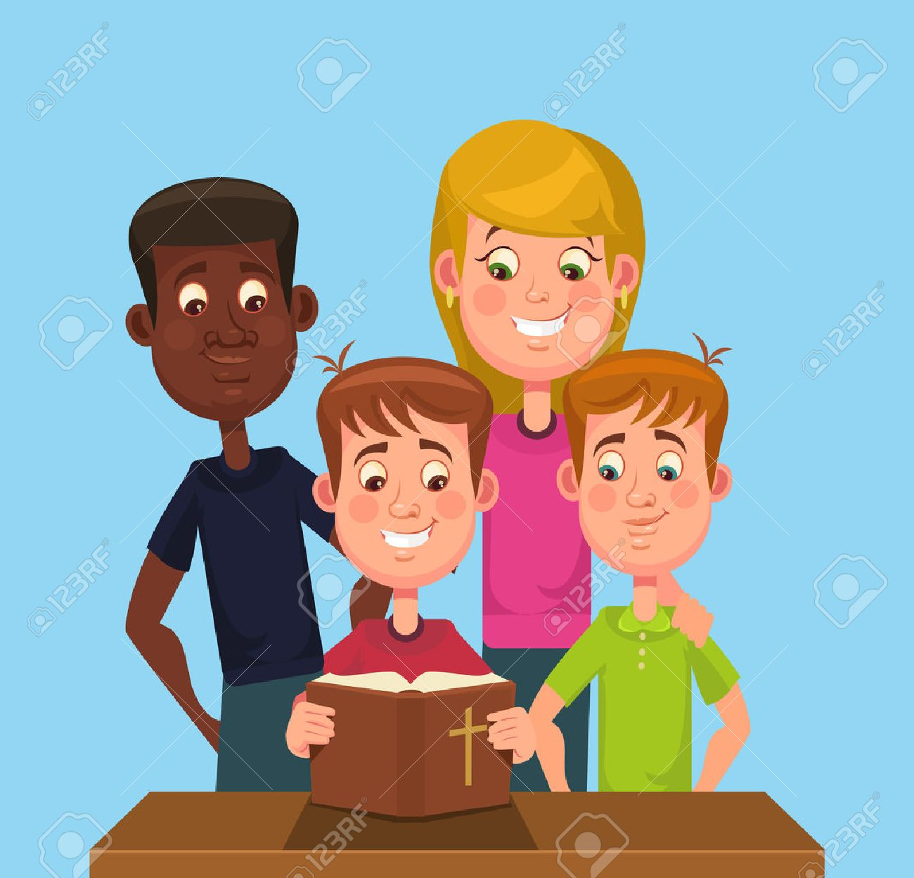 Children read the Bible. Vector flat cartoon illustration - 55965938