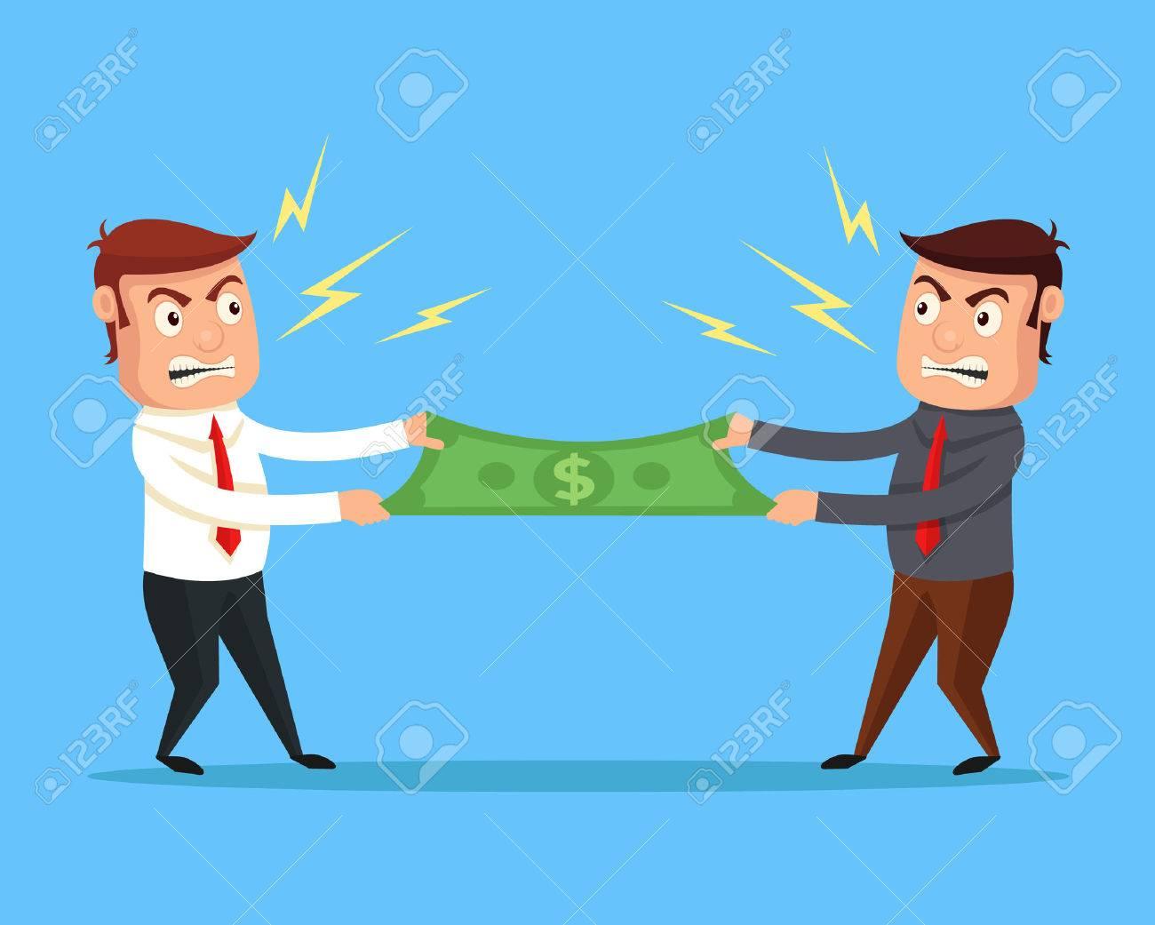Men divide money. Vector flat cartoon illustration - 55965696