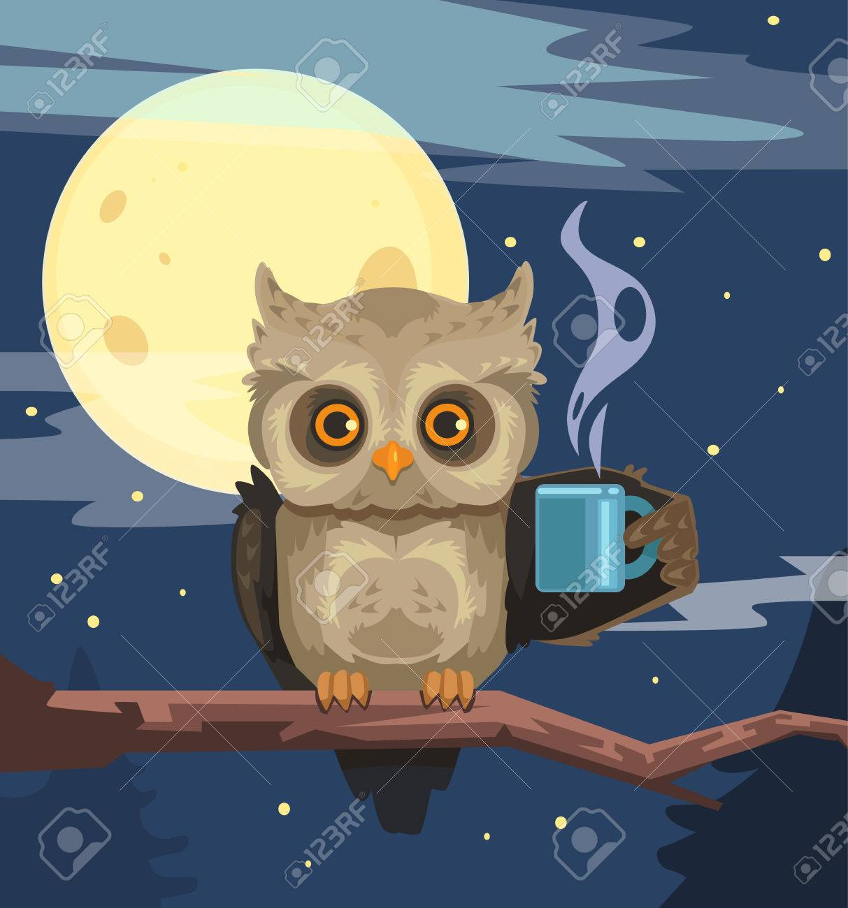 Owl with cup of coffee. Vector flat cartoon illustration - 56254682